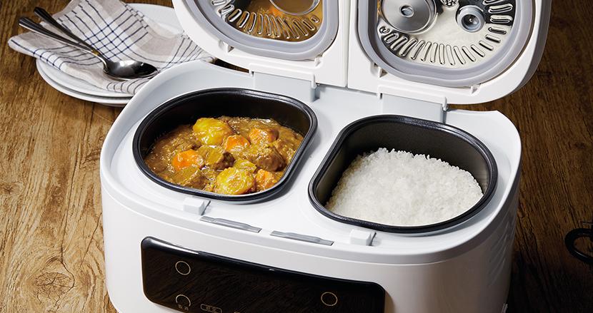 一斉休校の強い味方!?発売後ネットで即話題に。ご飯とおかず、最大4品までほったらかしで作れる自動調理鍋「ツインシェフ」