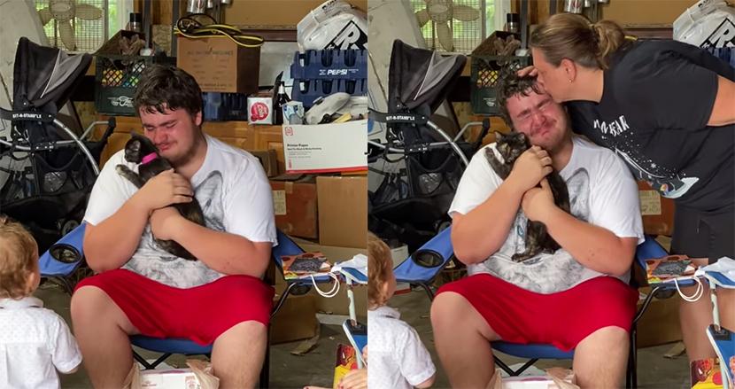 飼い猫を亡くし悲しみに暮れる自閉症男性、18歳の誕生日に子猫をサプライズで贈られ歓喜の涙