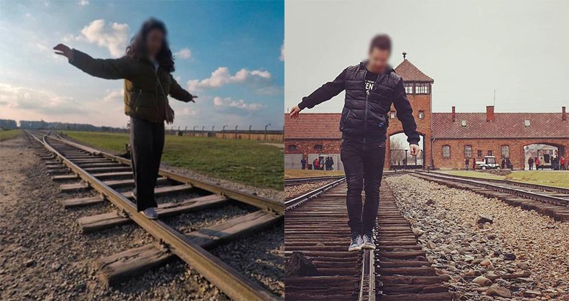 アウシュビッツ収容所、100万人以上の犠牲者を運んだ線路の上で自撮りするインスタ投稿者に異例の忠告