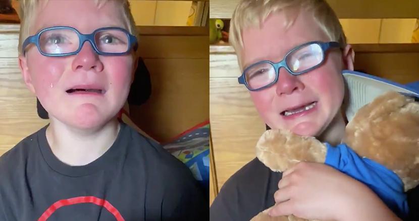 大好きだった祖父を亡くした6歳男の子、プレゼントのクマのぬいぐるみから祖父の声が聞こえ思わず号泣