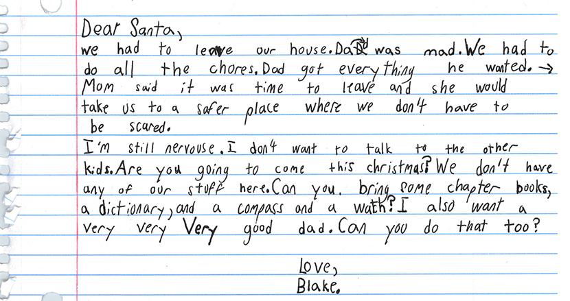 「サンタさん、優しいお父さんを下さい」家庭内暴力から逃げてきた7歳少年の手紙に涙