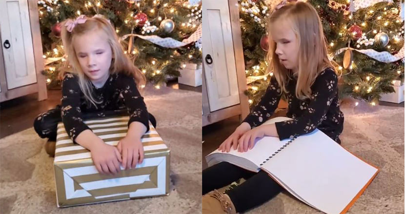 7歳の盲目少女に『ハリー・ポッター』の点字本をプレゼント!まさかのサプライズに嬉しさ爆発