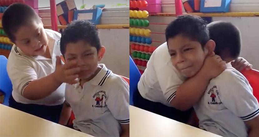 号泣する自閉症の同級生をハグして慰めるダウン症の男の子、わずか1分間の感動動画が2200万再生