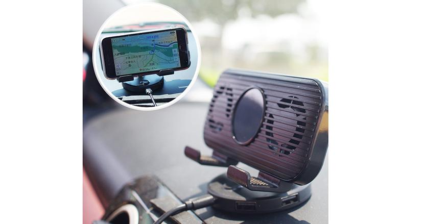 暑い車内でスマホの熱暴走を防止するスマホホルダー「ドライブスマクール」