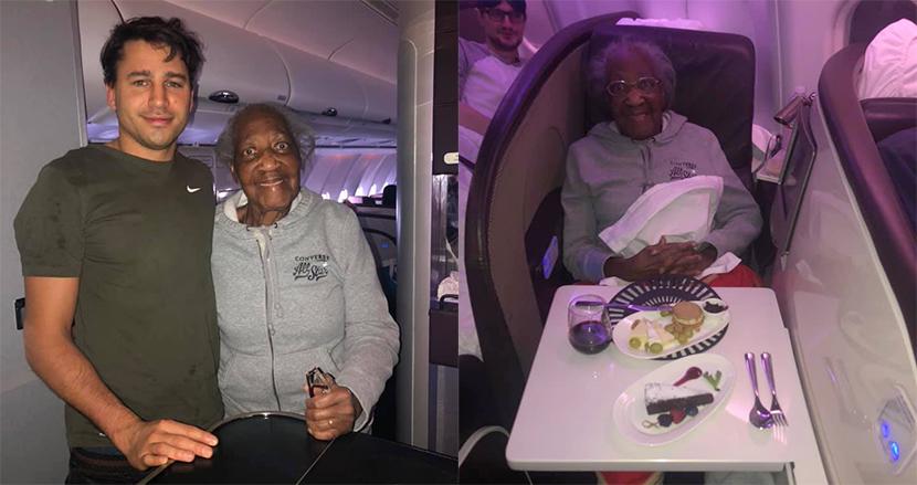 88才女性が憧れのファーストクラスに!偶然出会った青年に席を譲ってもらう。世代を超えた友情に感動
