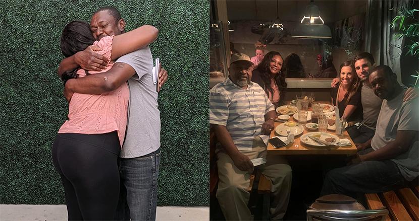 ホームレスの男性が家族と20年ぶりに再会し、感動の抱擁!見ず知らずのカップルが協力しお手柄