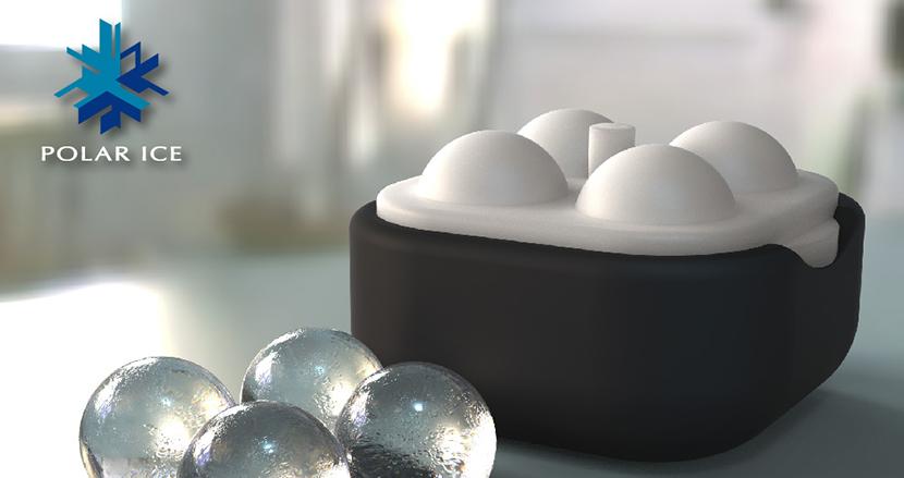 自宅でバーのような丸い透明な氷が作れるポーラーアイストレイ2