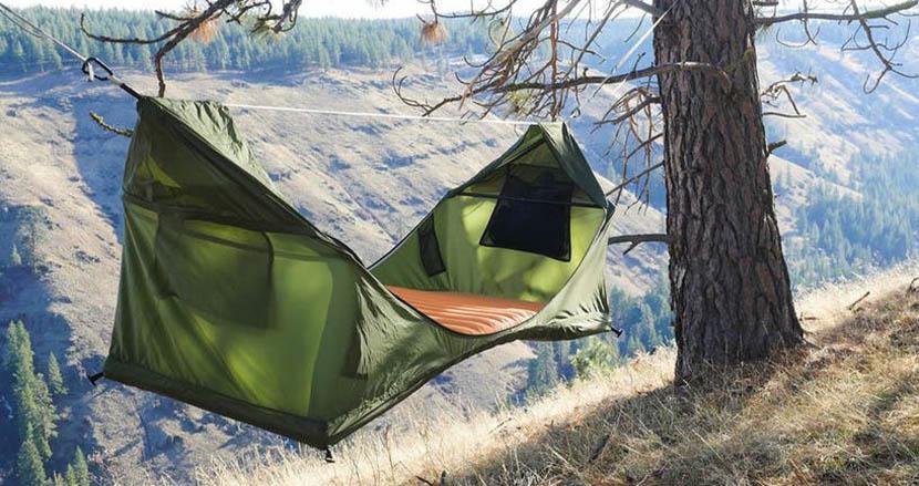 世界初のフルフラット式ハンモックテント「Heaven Tent」。いつでもどこでも自分だけの理想的なスペ―スを