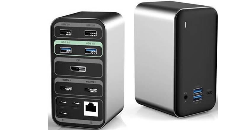 簡素なノートPCをアップグレードさせる「15 in 1ドッキングステーション」。これ1つでデスク環境もだいぶ変わりそう