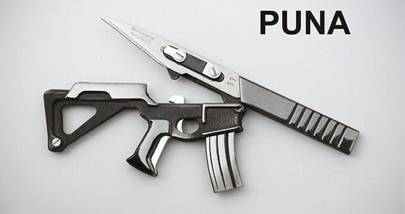 交換可能なメス刃を搭載した5in1マルチツール「Puna」。サブマシンガンを模した形状も所有欲をそそられる