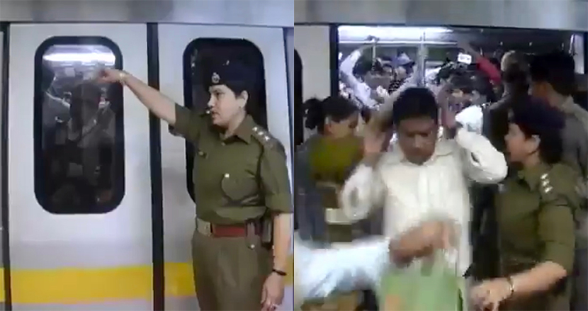 女性専用車両に乗ってきた男性を、女性警官がビンタの嵐!インドの地下鉄は実力行使