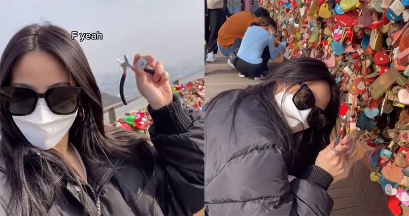 元カレとつけた「愛の南京錠」を外しに、カリフォルニアから韓国ソウルまで9500キロの旅。女性ダンサーのTikTokが話題に