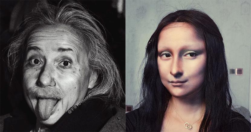 化粧だけでアインシュタインやモナリザに大変身。カメレオン級のメイクスキルに世界が鳥肌