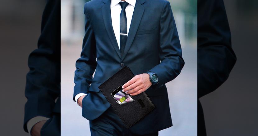 会議中でもスマホ充電OK。ワイヤレス充電にも対応した手帳カバー「充電ノート SY-106」