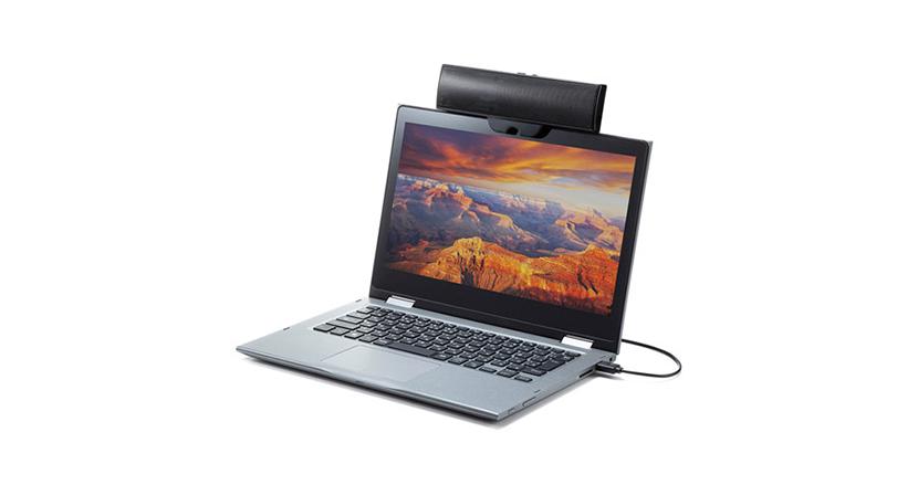 ノートPCにクリップで固定できるUSB接続スピーカー「USBサウンドバースピーカー」
