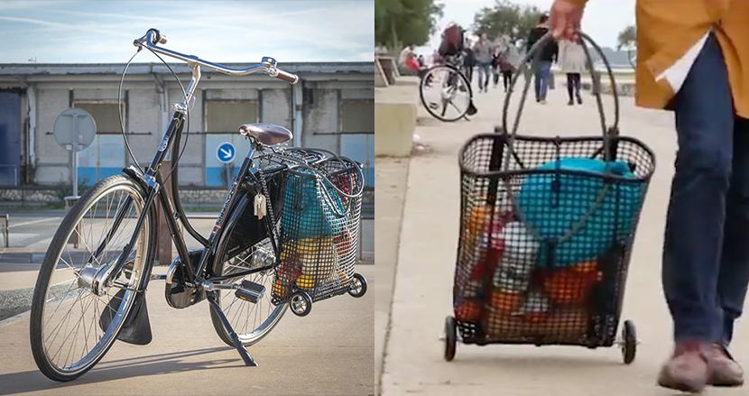 たった1秒で自転車のカゴを増設!着脱自在のバスケット・ショッピングカート「Velo universel & Velo shopping」
