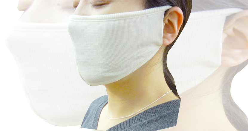 睡眠時のノドの乾燥を防止するマスク「カッペリーニシルクマスク」