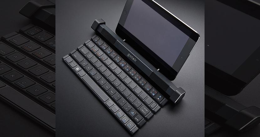 タブレットとの相性バツグン!筒状にして持ち運べるスピーカー内蔵型ワイヤレスキーボード「Gotype」