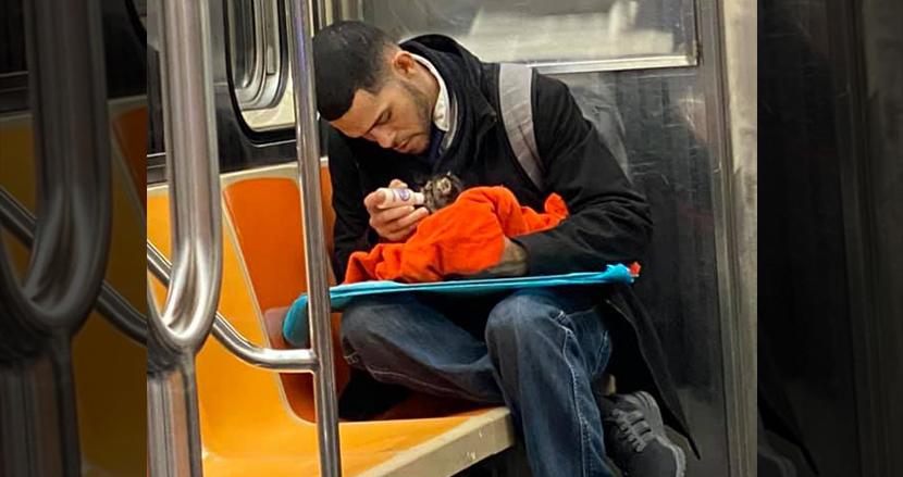 ニューヨークの地下鉄車内で、子猫にミルクをあげる男性。心温まるワンシーンで世界を癒す