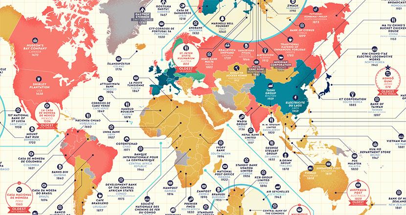 世界最古の企業は日本に存在した!各国の最も創業が古い企業をマップにしたら、開拓の歴史を垣間見れた