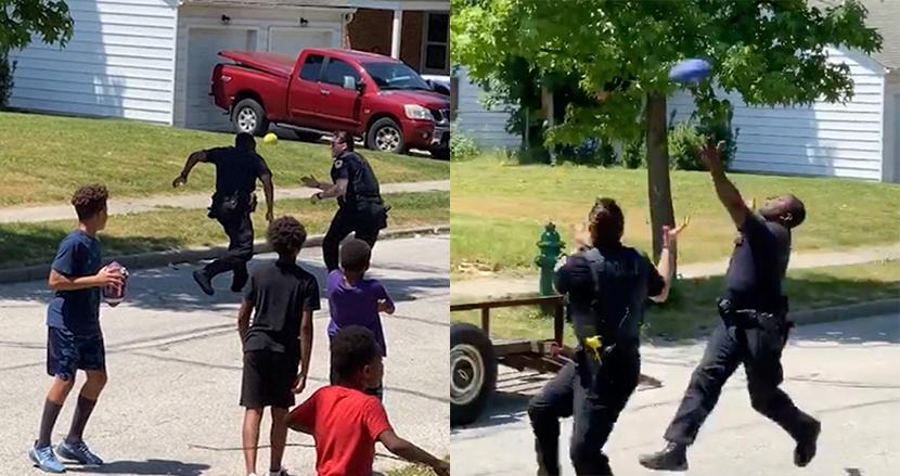「路上で遊んでいる」と通報された黒人少年たち、駆けつけた白人警官らと一緒にアメフトで遊ぶ動画に思わずほっこり