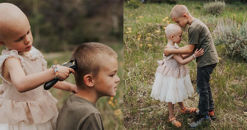小児ガンを患った3歳の妹のため、自ら頭を丸める兄。病魔と戦う愛に溢れた家族に感動