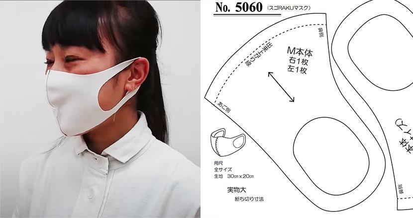 5分で作れる本格マスク、型紙に合わせて布を切るだけで超簡単!既製品が手に入らない人、必見