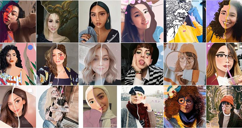 自撮り写真の顔の半分だけイラストにする「#ToonMe」チャレンジが、世界中のイラストレーターの間に一大ブームに