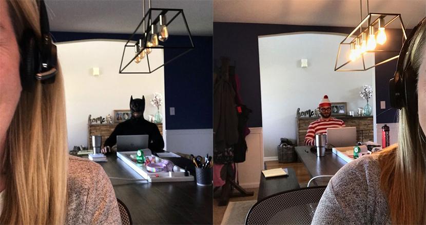 自宅からのオンライン会議中、背後にバットマンが!コスプレ夫のイタズラに、妻の同僚大ウケ